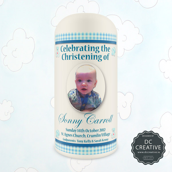 Baby Boy Personalised Photo Christening Candle