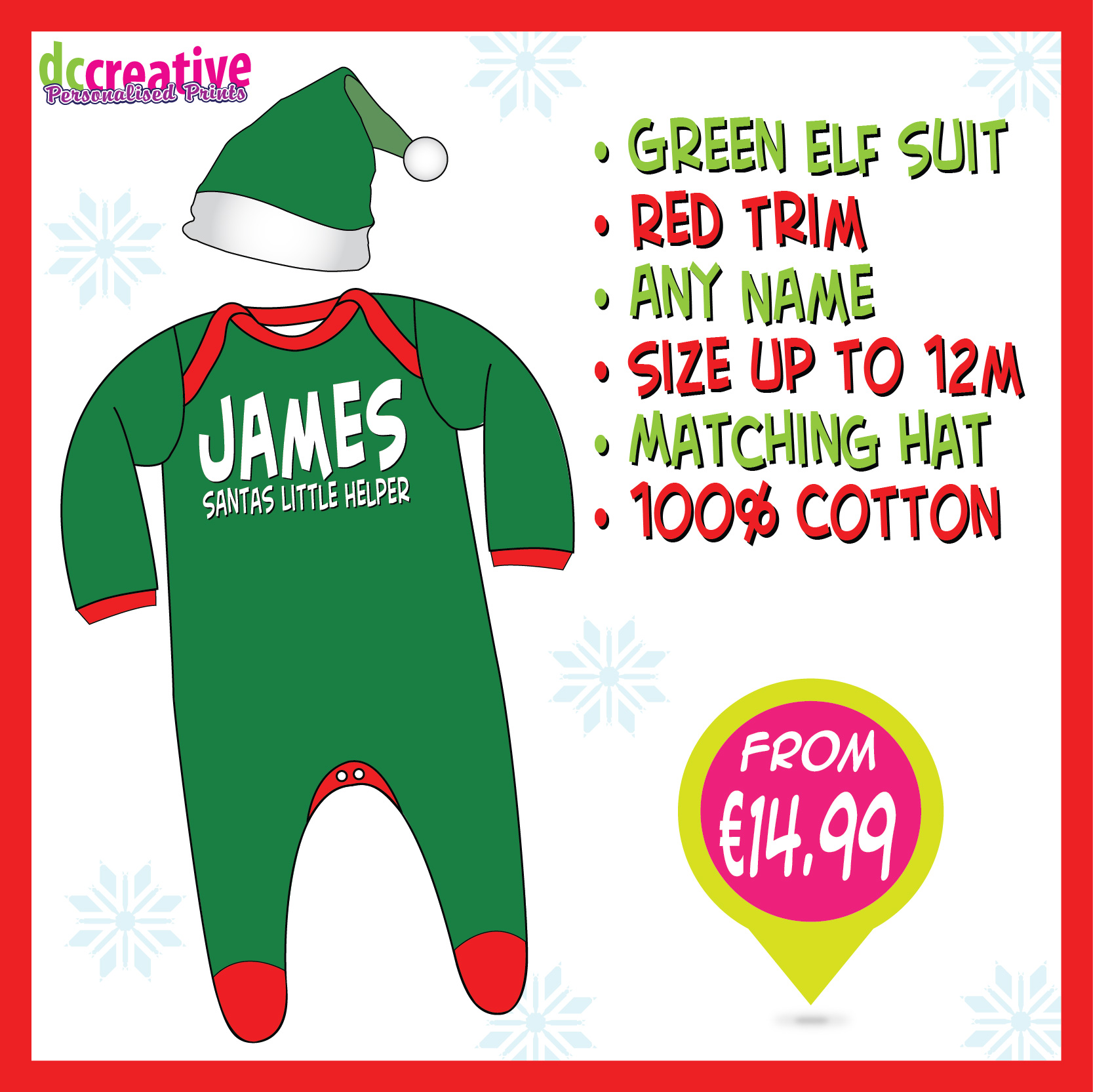 Personalised baby Elf suit