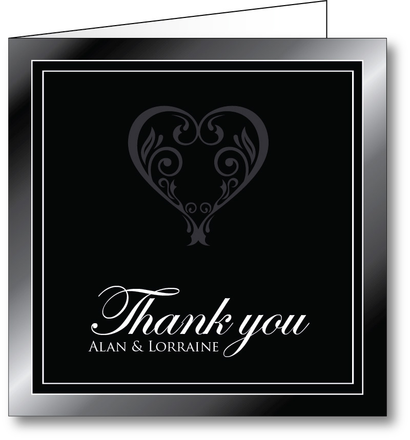 Wedding thank you card black