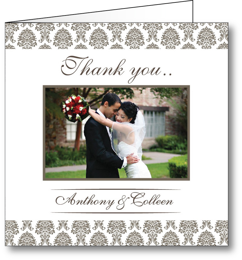 Wedding thank you card with photo 1