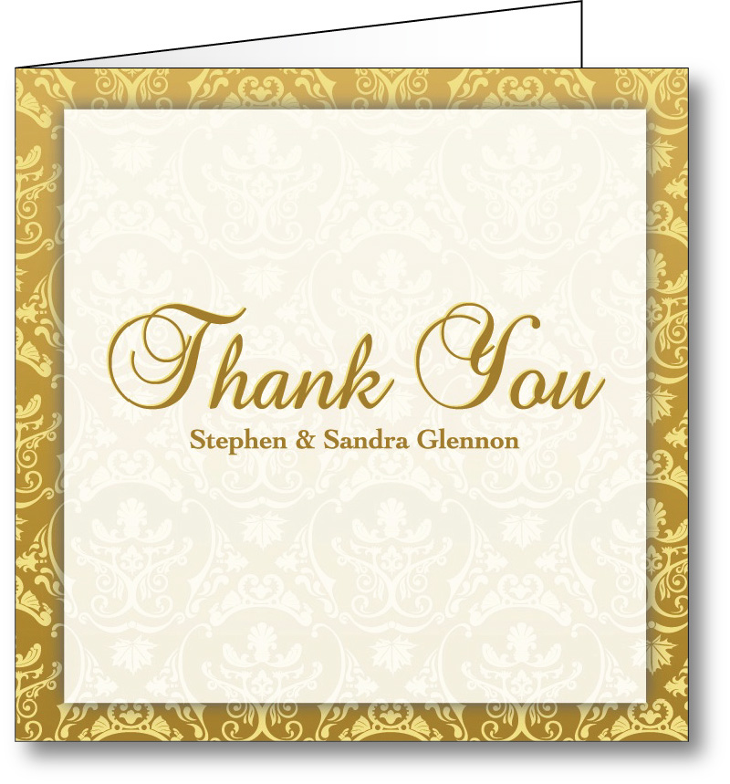 Thank you card vintage gold
