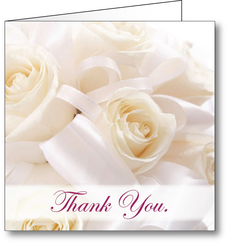 Thank you card white roses 2
