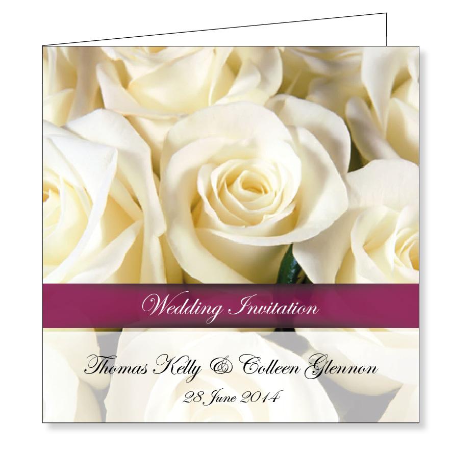 Wedding Invitation - White Roses