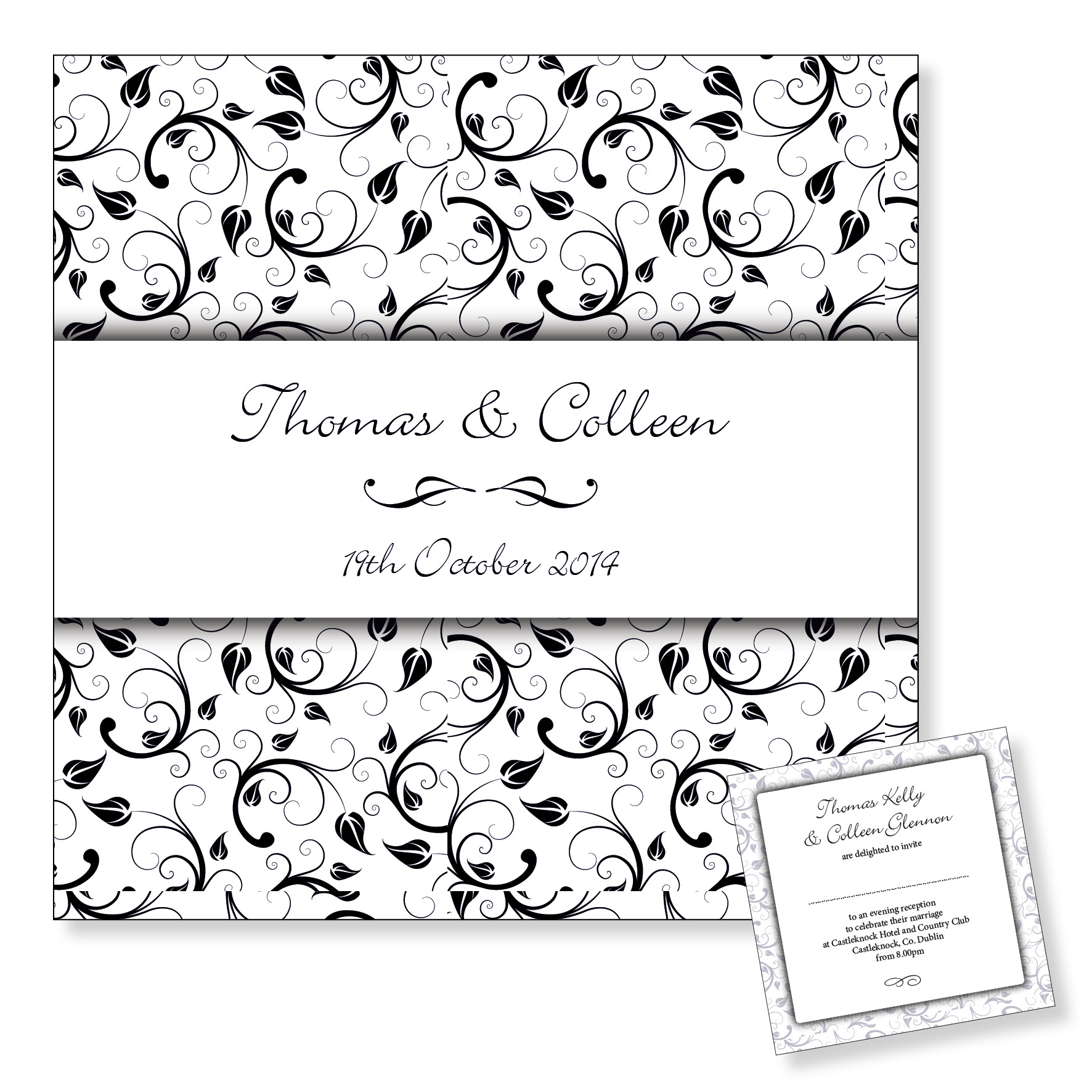 Wedding evening invitation - Black floral