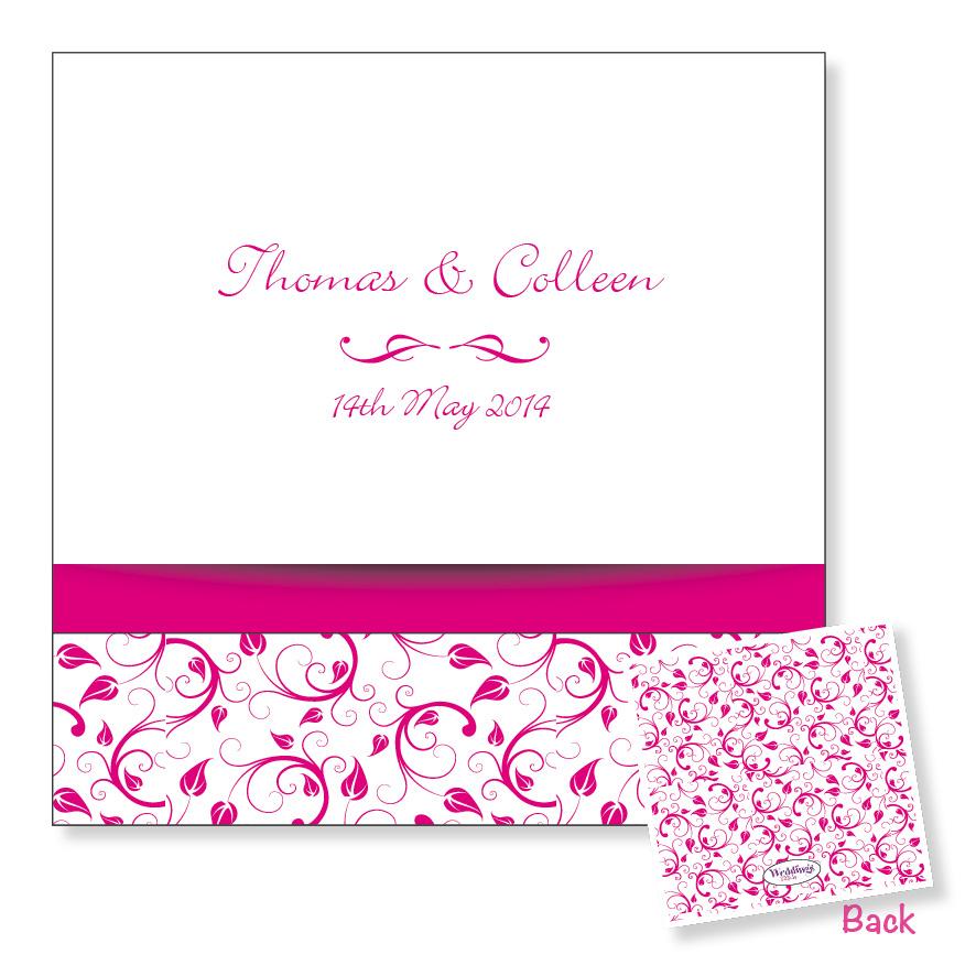 3 Fold Wedding Invitation - Pink Floral