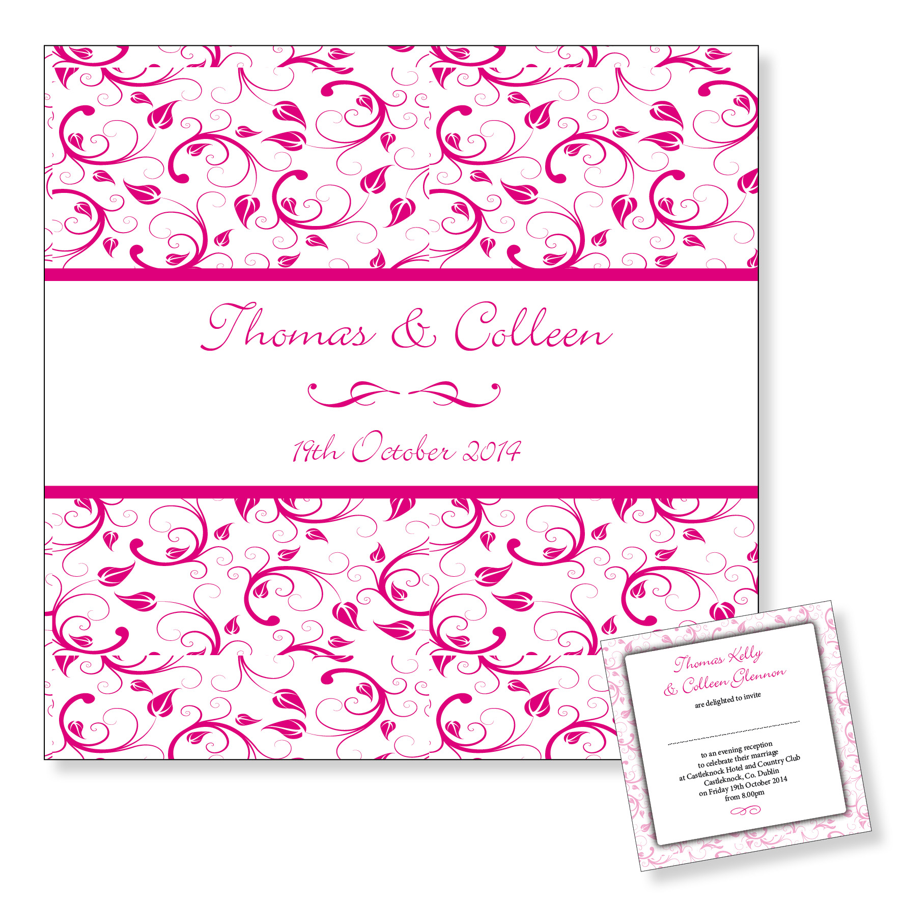 Wedding evening invitation - Pink floral