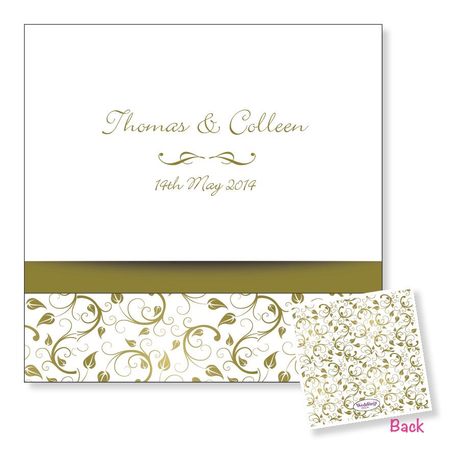3 Fold Wedding Invitation - Gold Floral