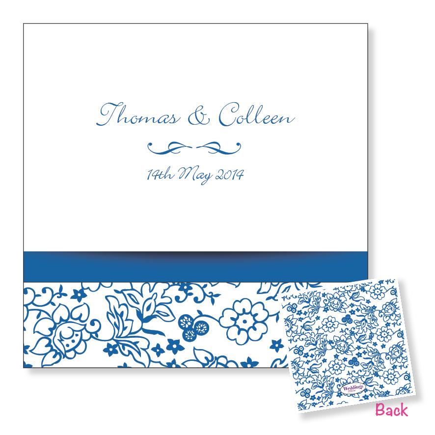 3 Fold Wedding Invitation - Blue Floral