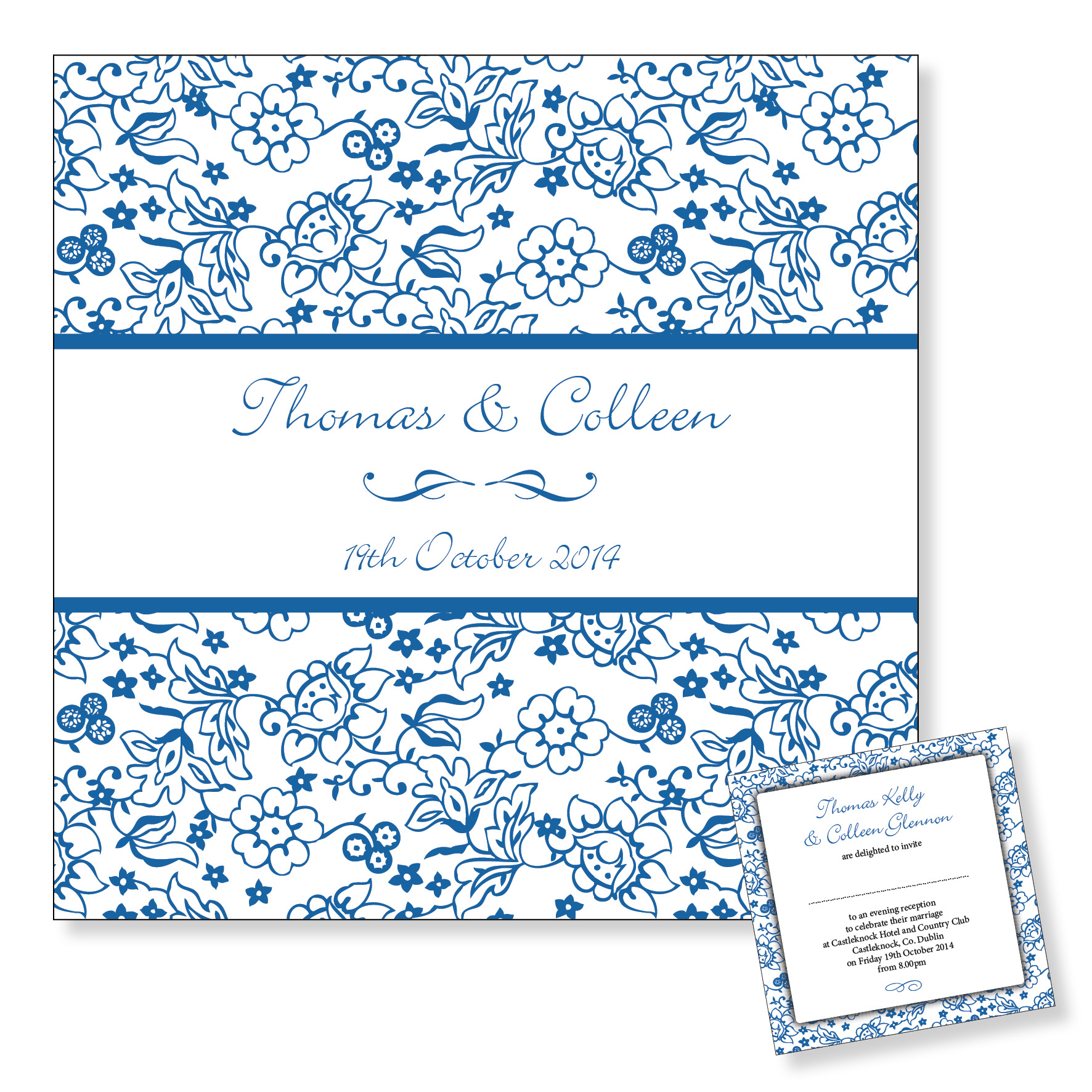 Evening wedding invitation - Blue floral