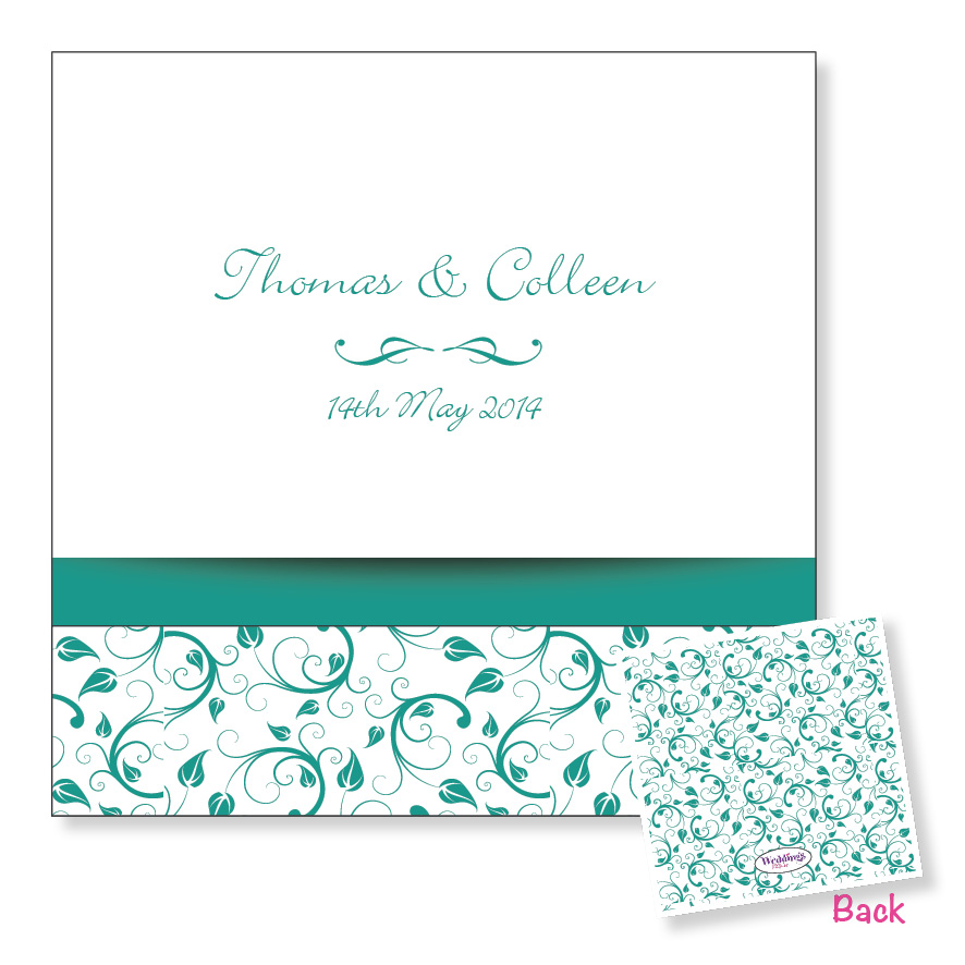 3 Fold Wedding Invitation - Turquoise Floral
