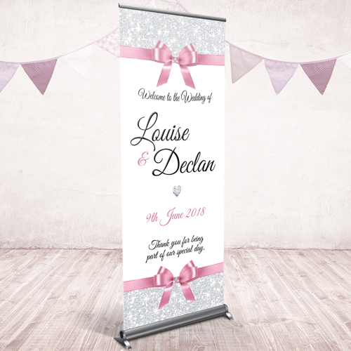 Wedding pull up banner - pink bow