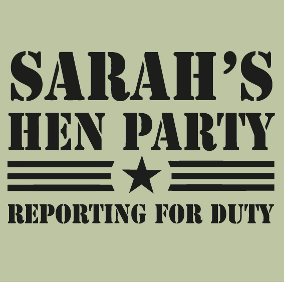 Hens party tshirt - Army style