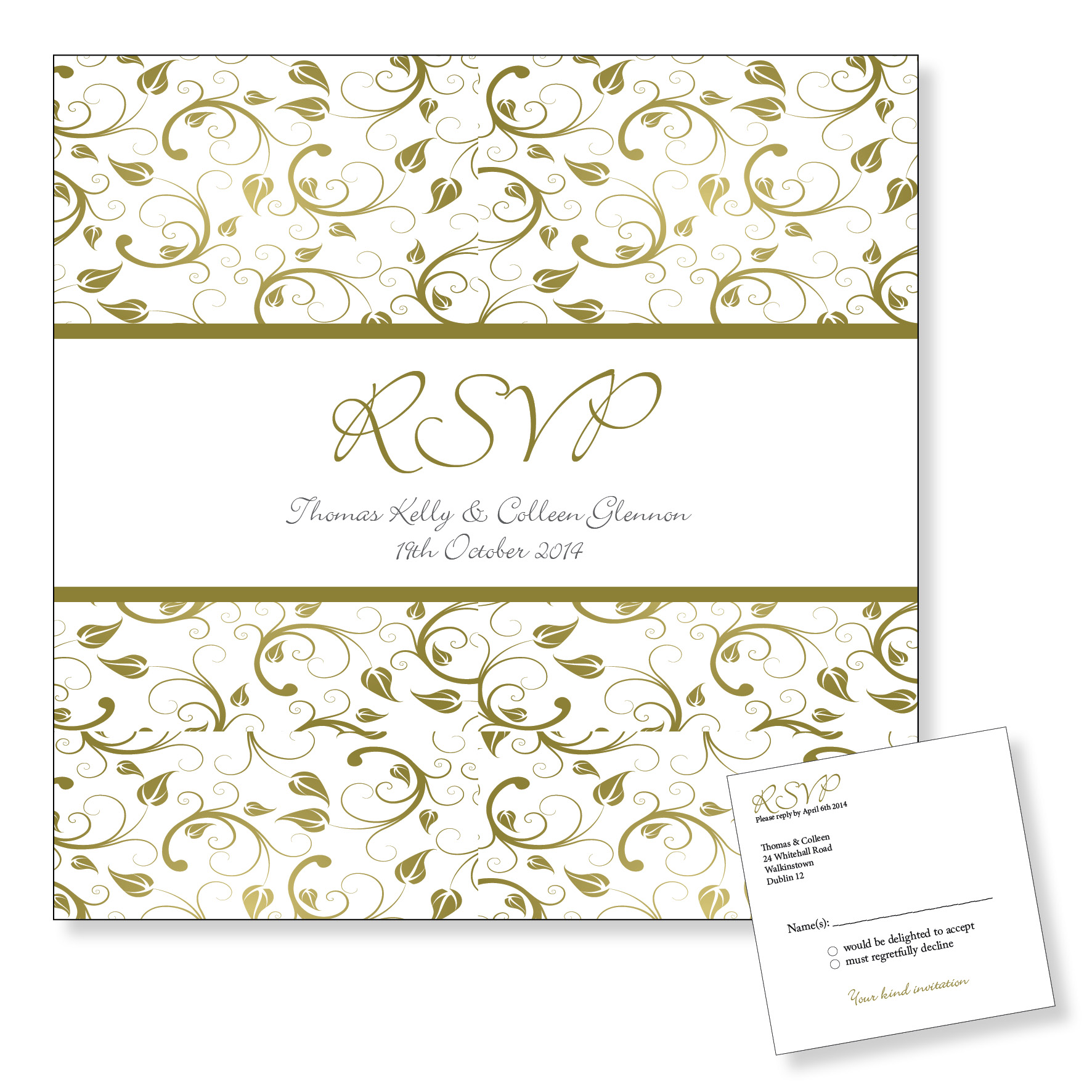 Wedding Reply Card - Gold Floral