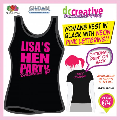 hen party ideas, black vest with neon pink lettering