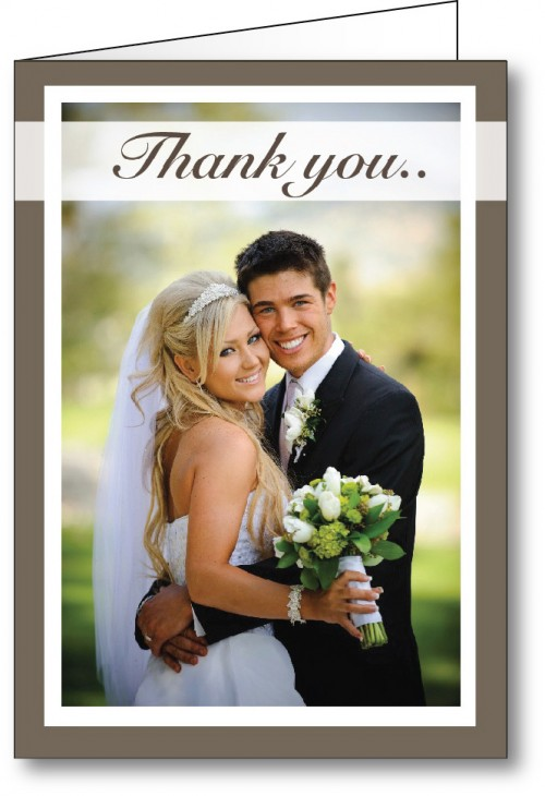 Wedding thank you card with photo frame