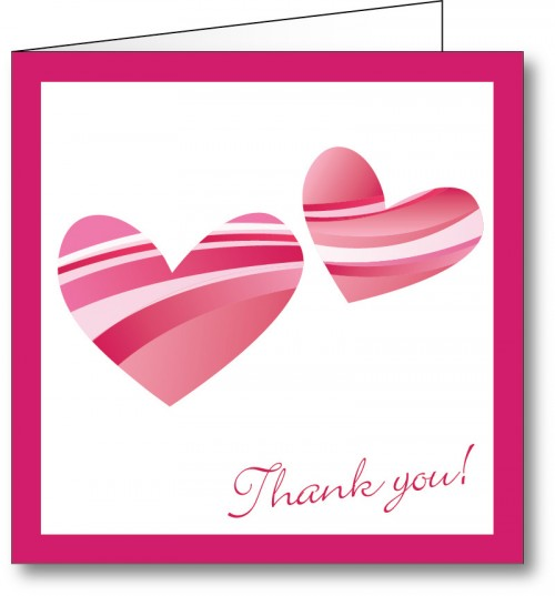 Weddin thank you card love hearts 2