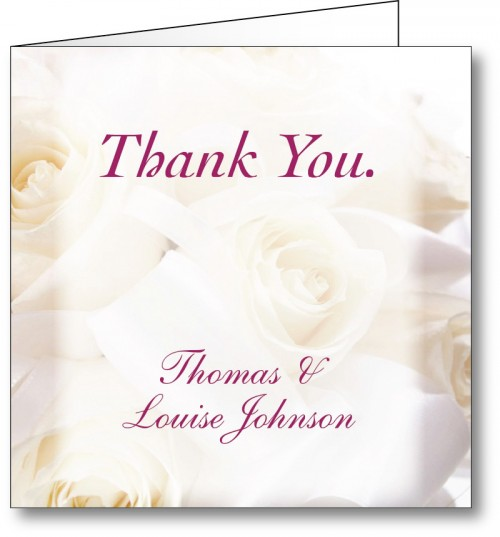 Wedding thank you card white roses