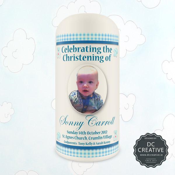 Baby Boy Personalised Photo Christening Candle