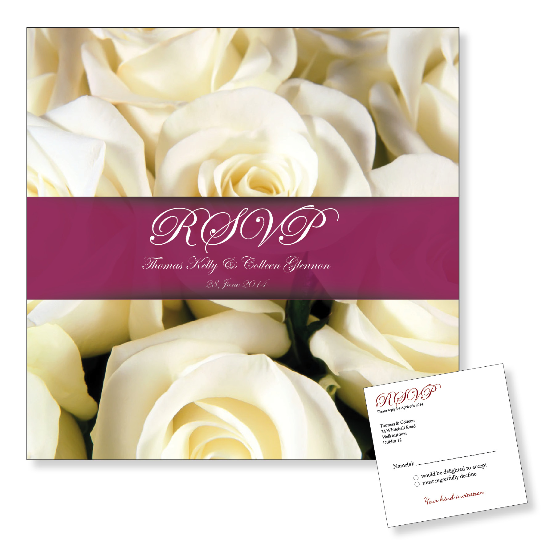 Wedding Reply Card - White Roses
