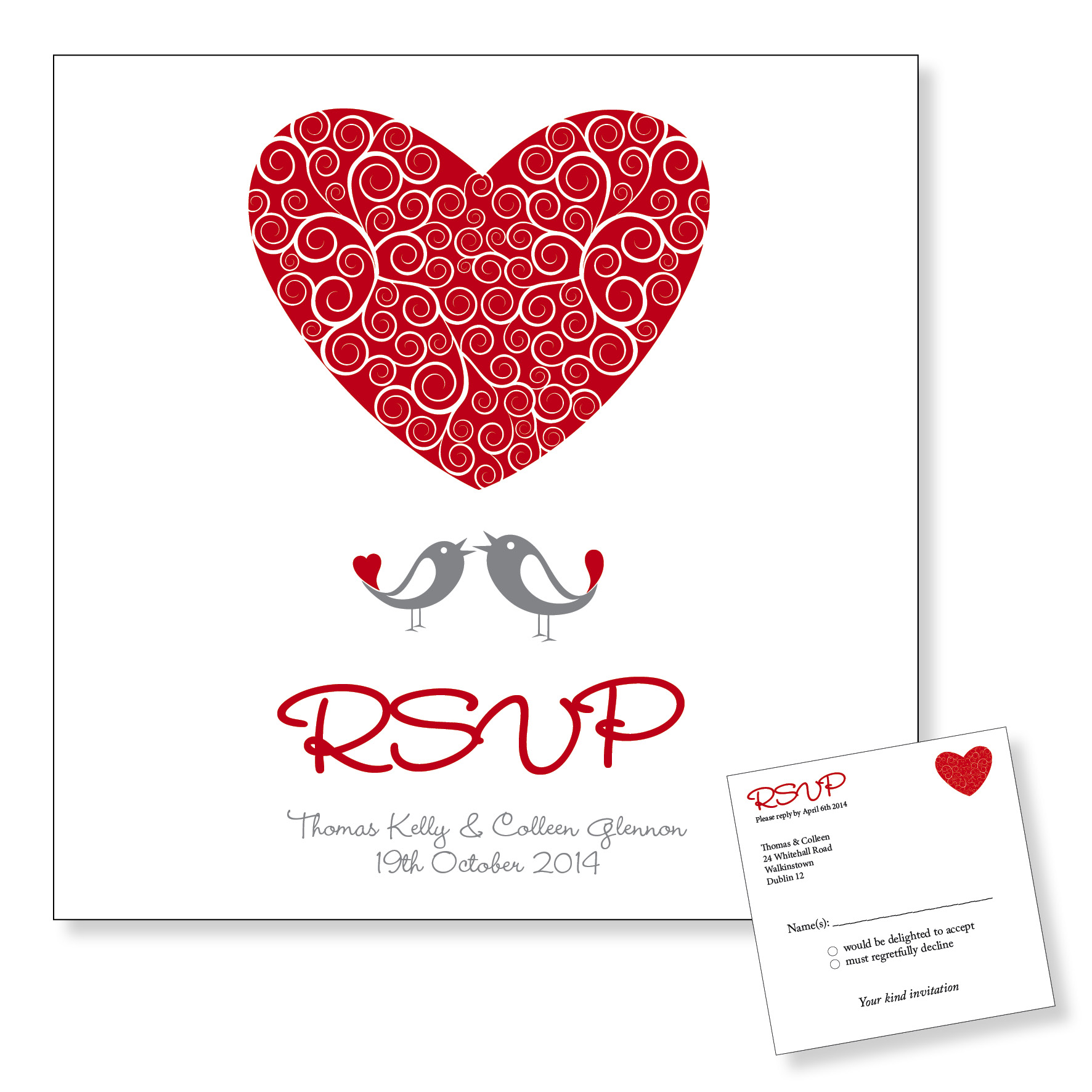 Wedding Reply Card - Love Birds