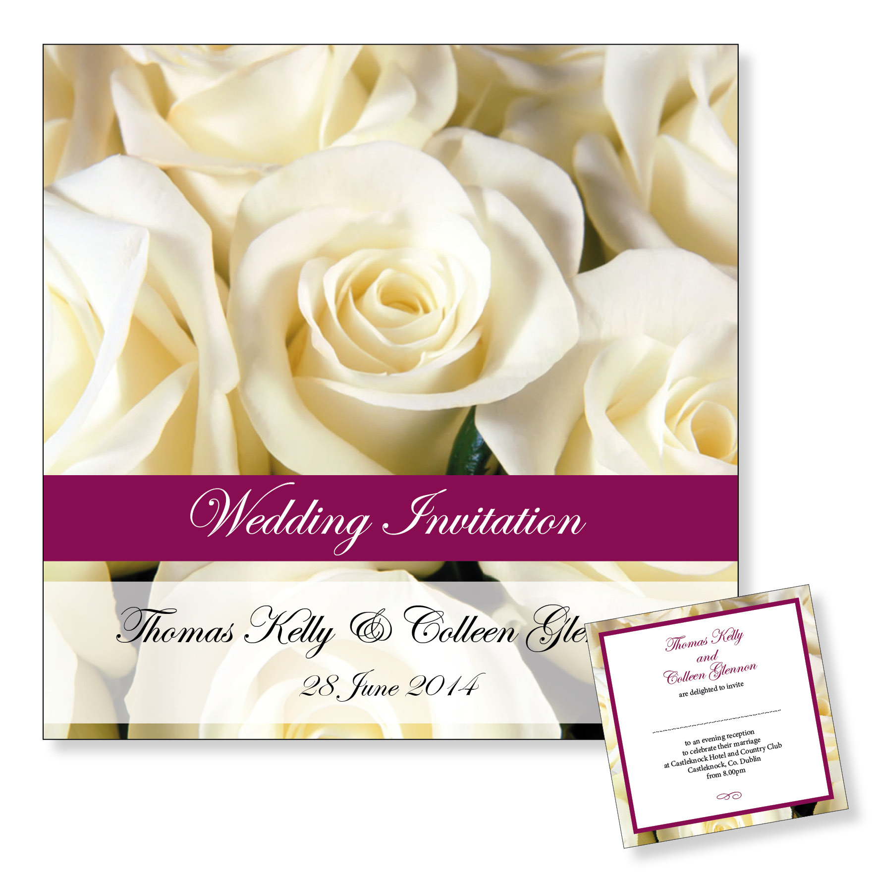 Evening wedding invitation - White roses