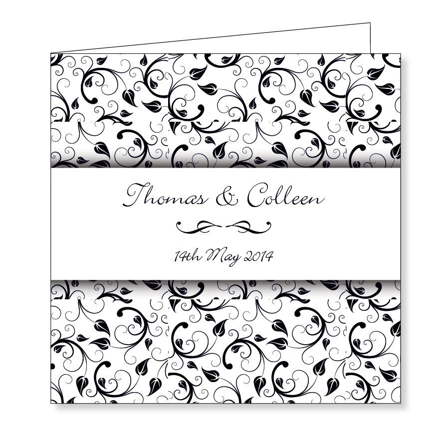 Wedding Invitation - Black Floral