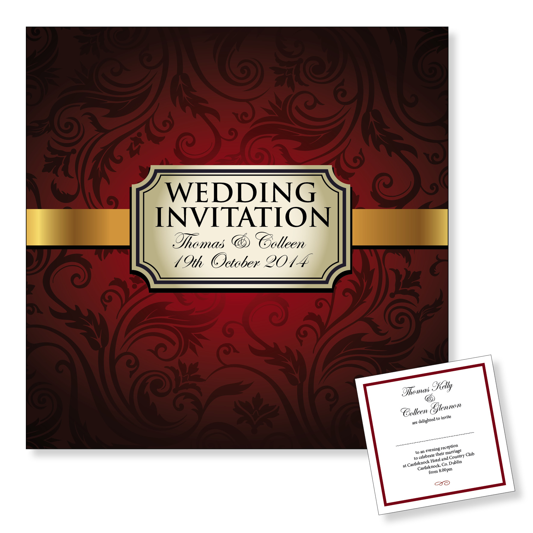 Evening wedding invitation - Red vintage