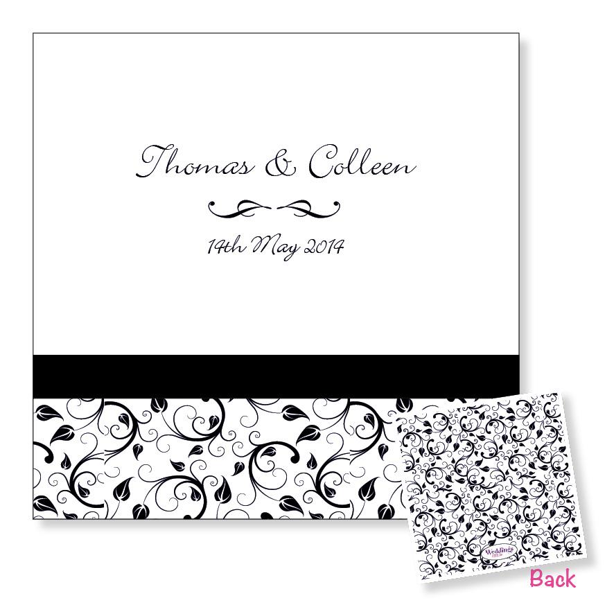 3 Fold Wedding Invitation - Black Floral