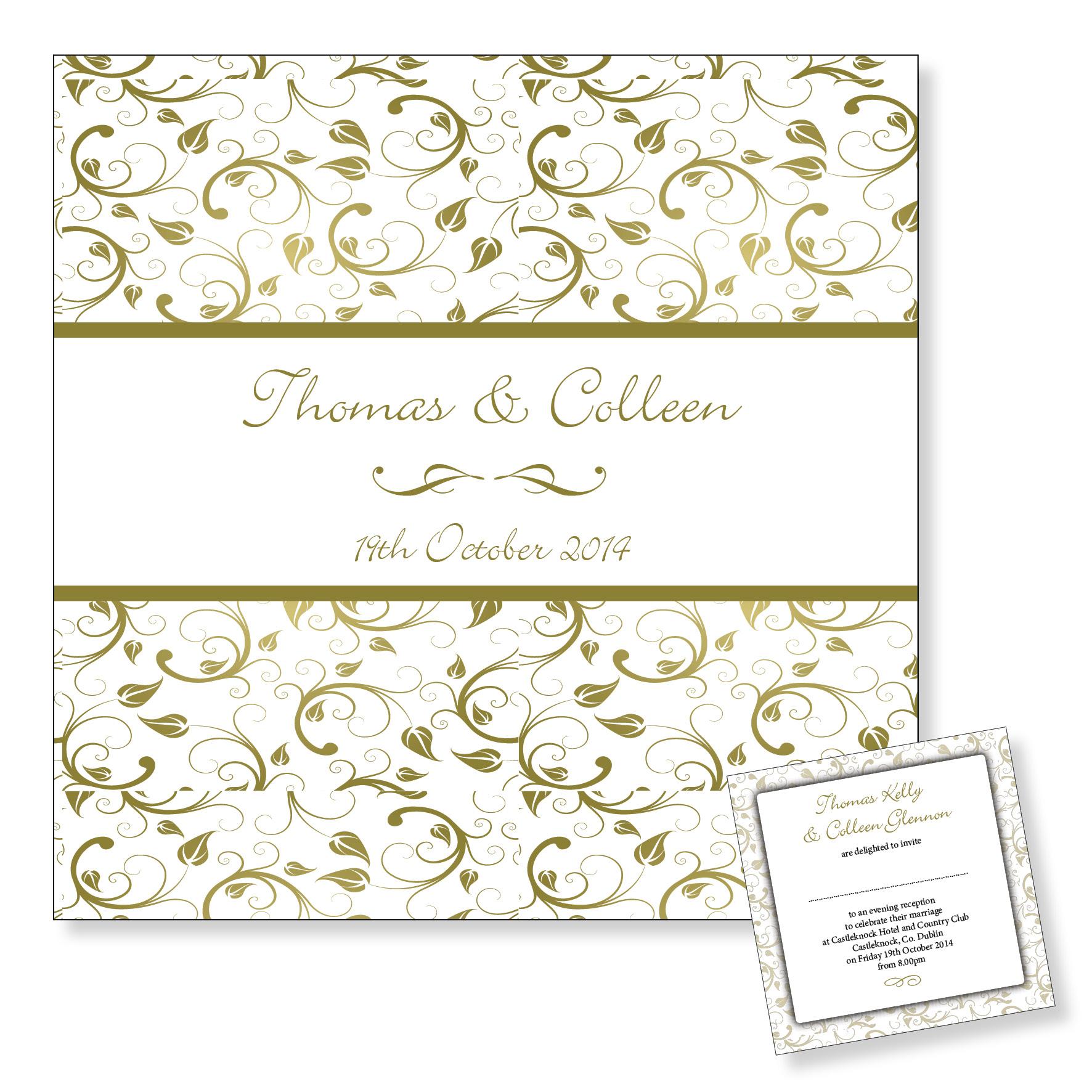 Evening wedding invitation - Gold floral