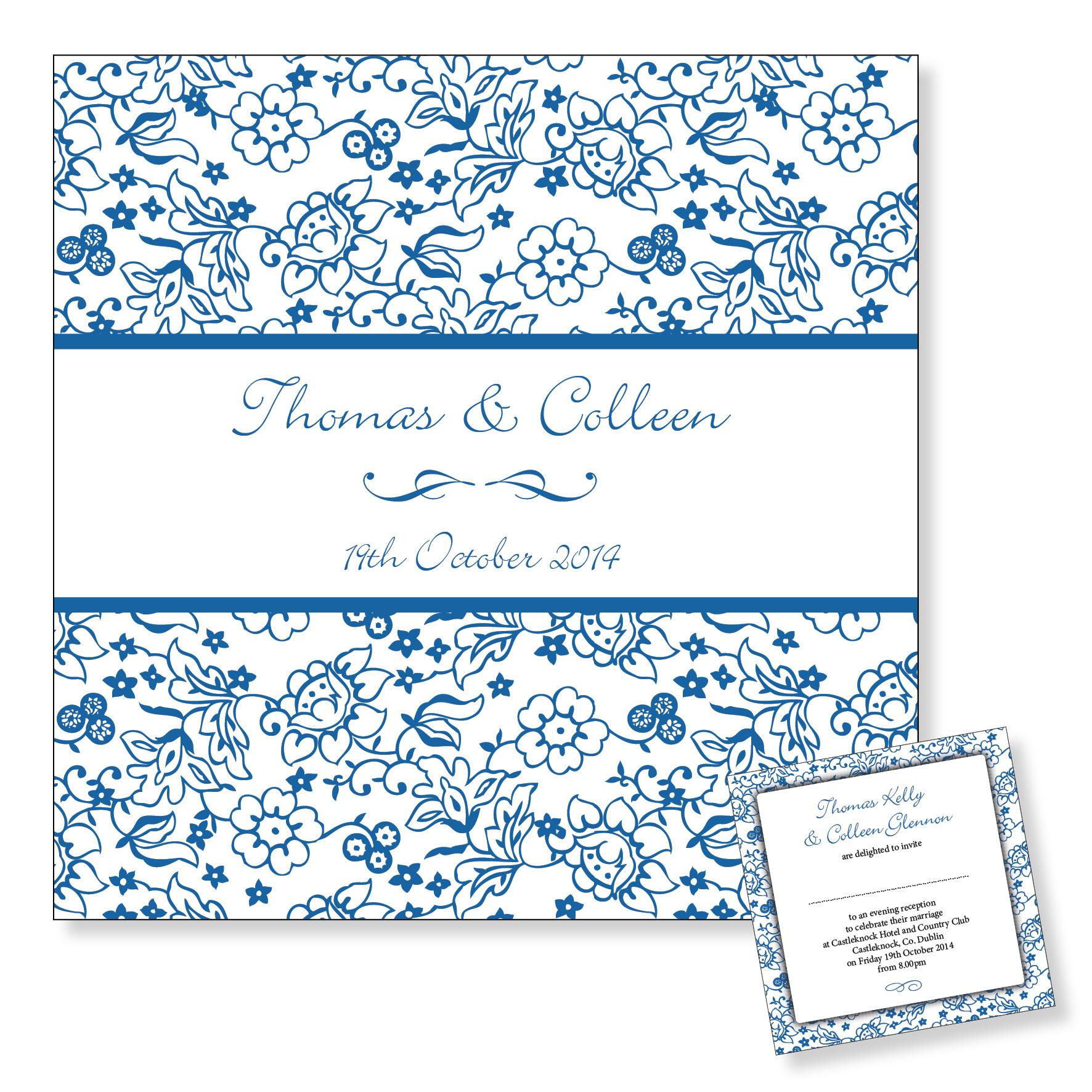 Evening wedding invitation - Blue floral