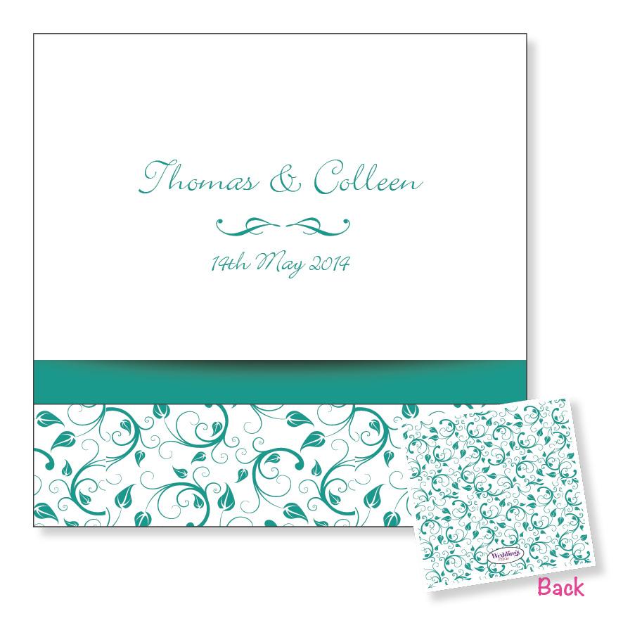3 Fold Wedding Invitation - Turquoise Floral
