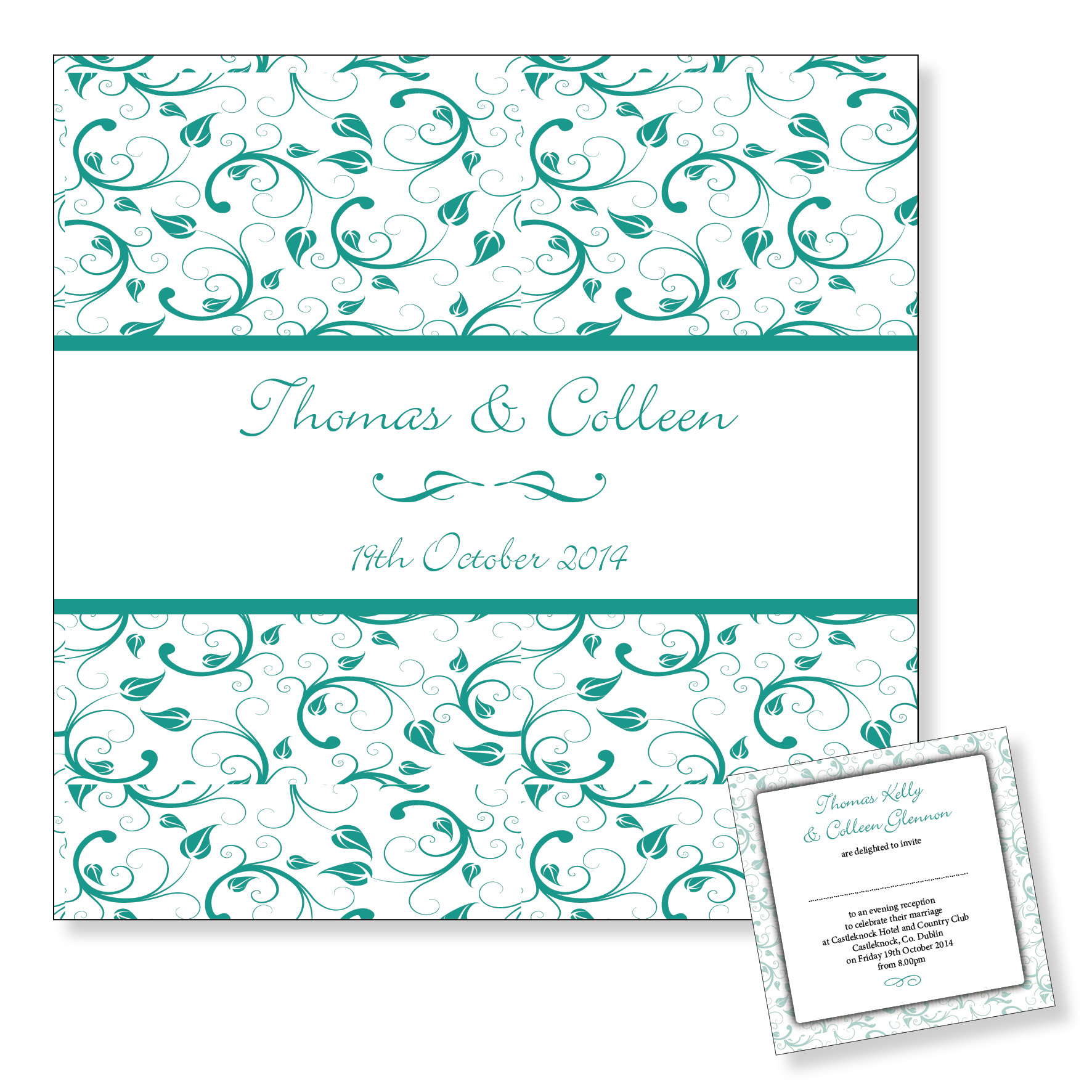 Wedding evening invitation - Turquoise floral