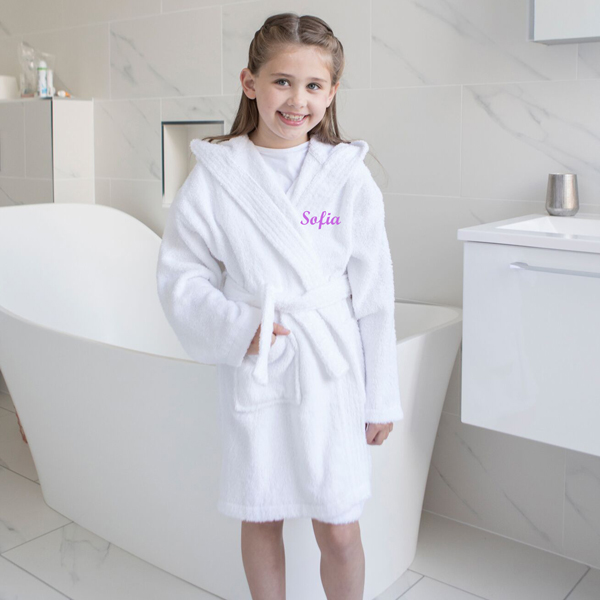 Personalised kids bathrobe