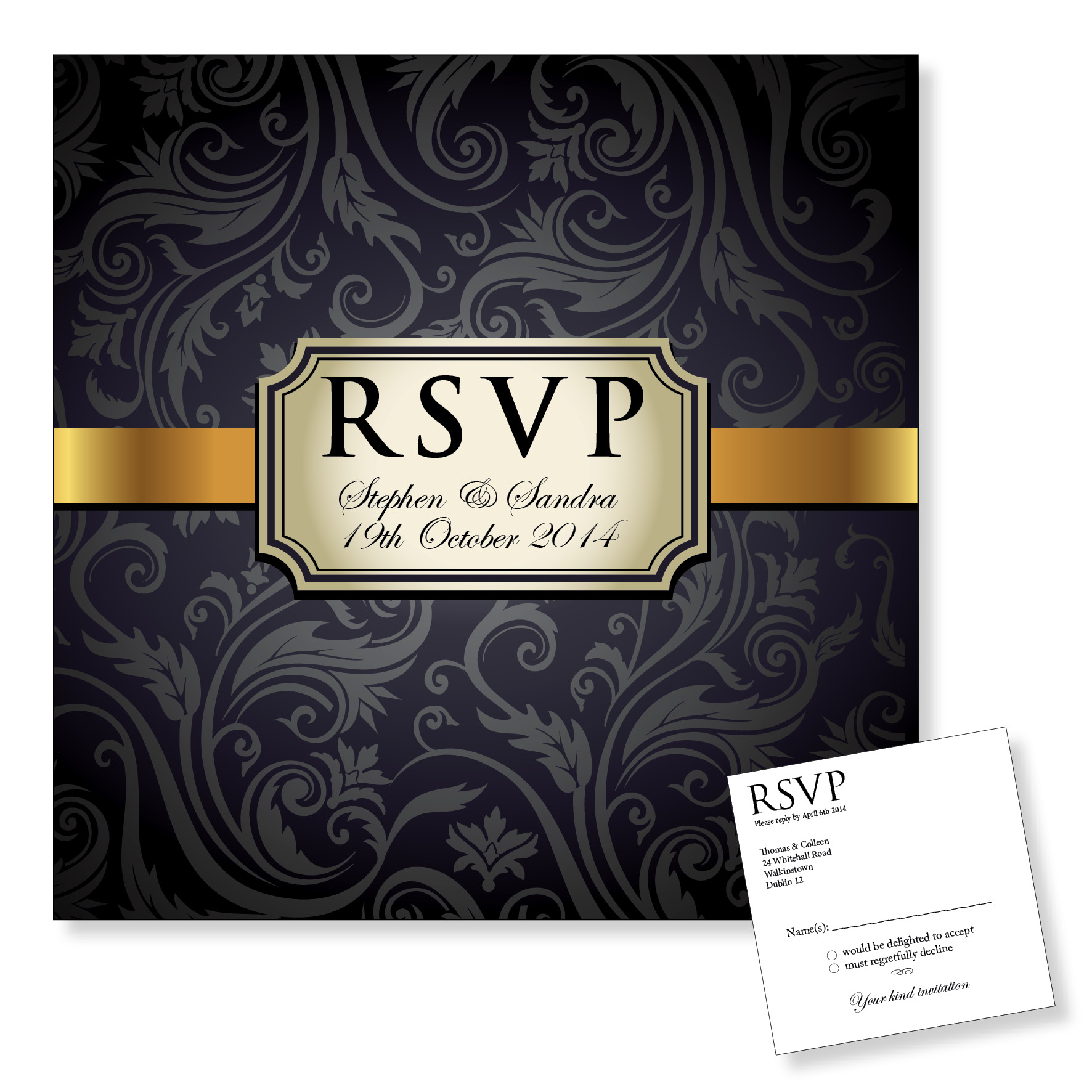 Wedding Reply Card - Vintage Black