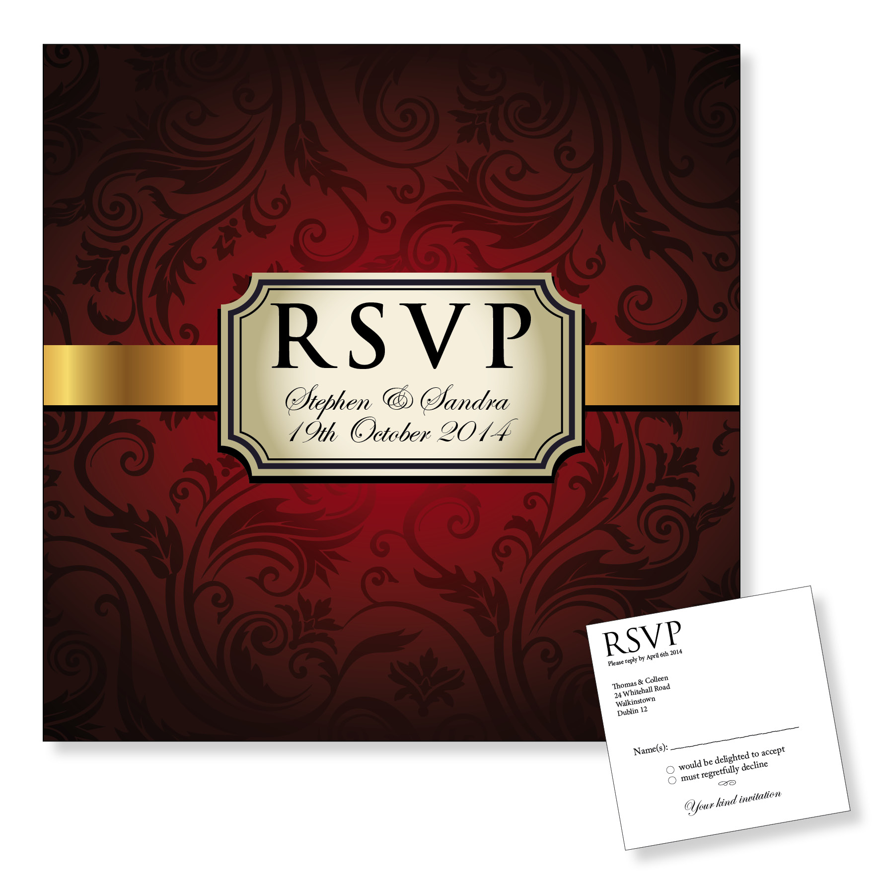 Wedding Reply Card - Vintage Red