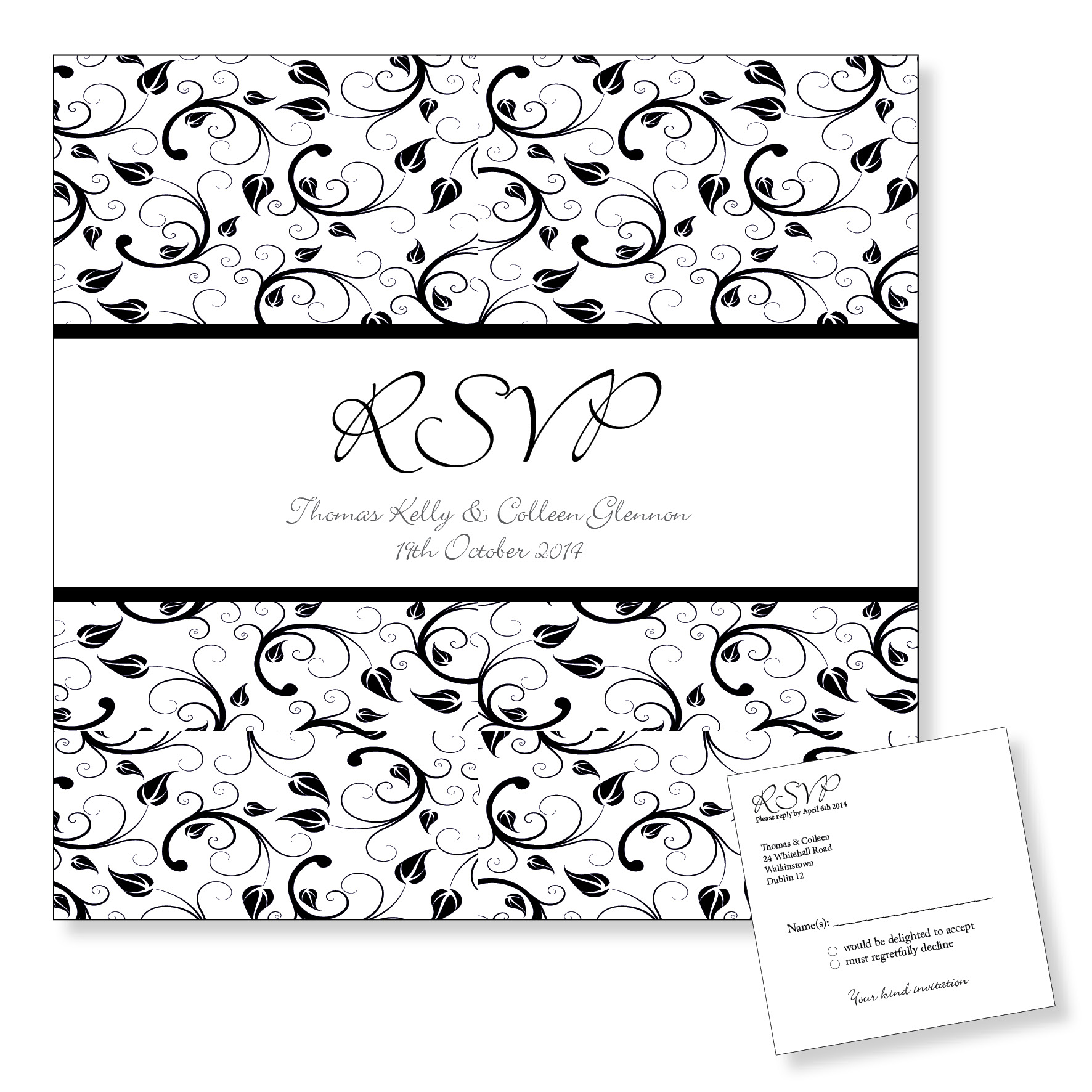 Wedding Reply Card - Black Floral