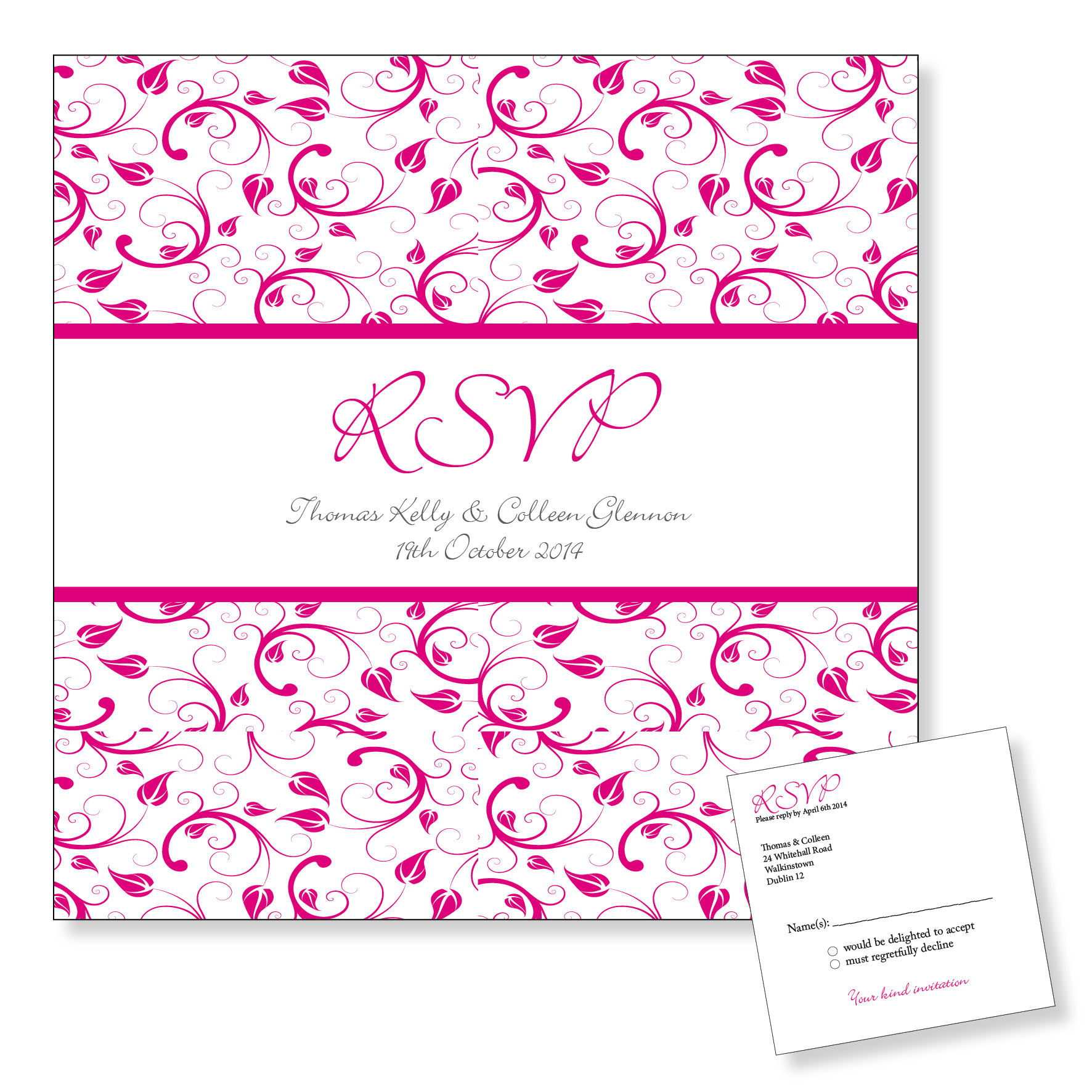 Wedding Reply Card - Pink Floral