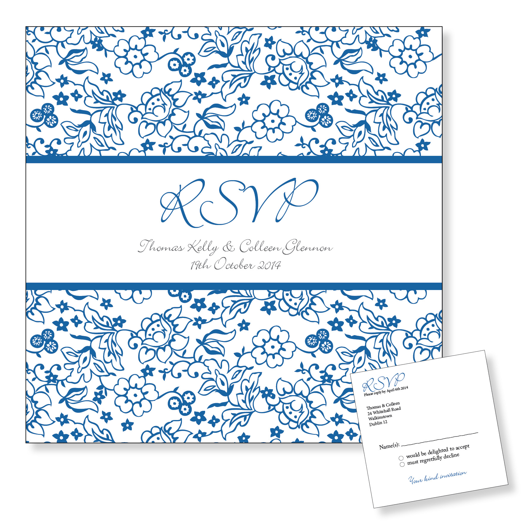 Wedding Reply Card - Blue Floral