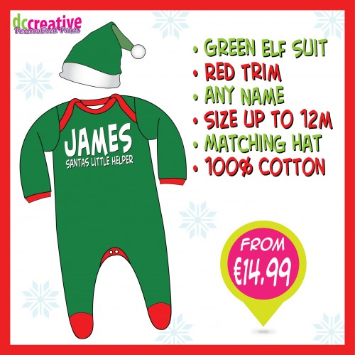 Personalised baby elf body suit