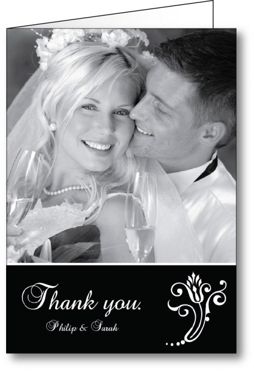 Wedding thank you card with black