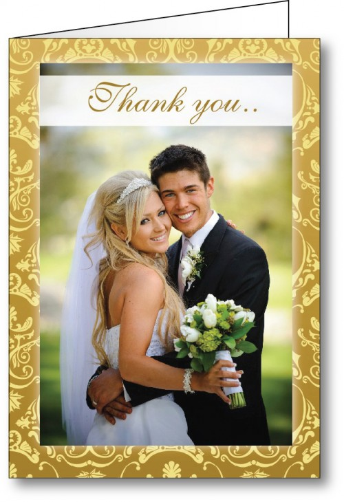 Wedding thank you card with photo gold
