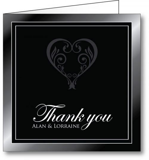 Wedding thank you card black