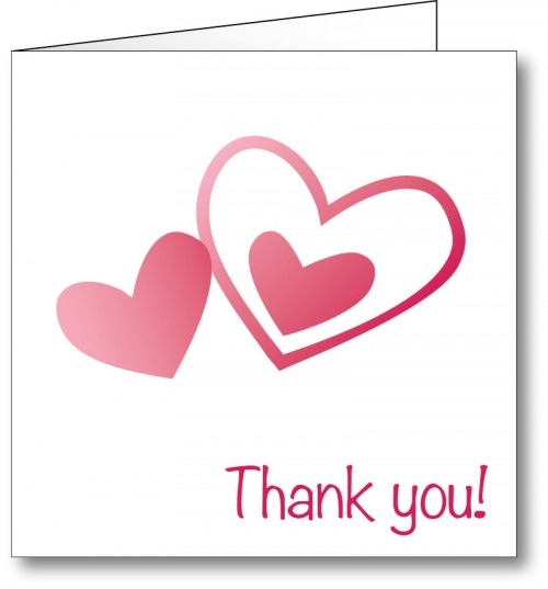 Wedding thank you card love hearts