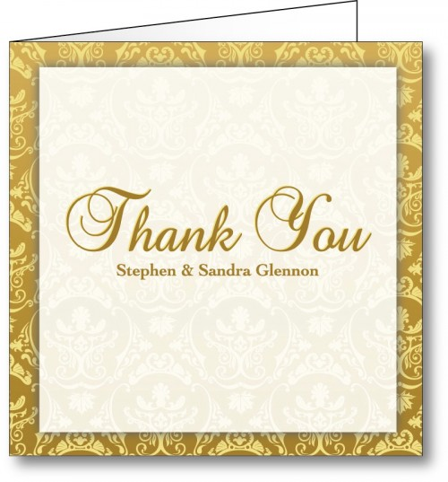 Wedding thank you card vintage gold