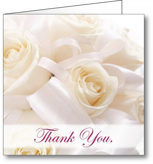 Wedding thank you card white roses 2