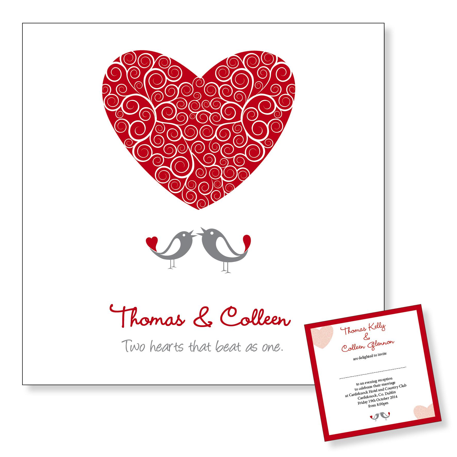 Evening wedding invitation with love birds