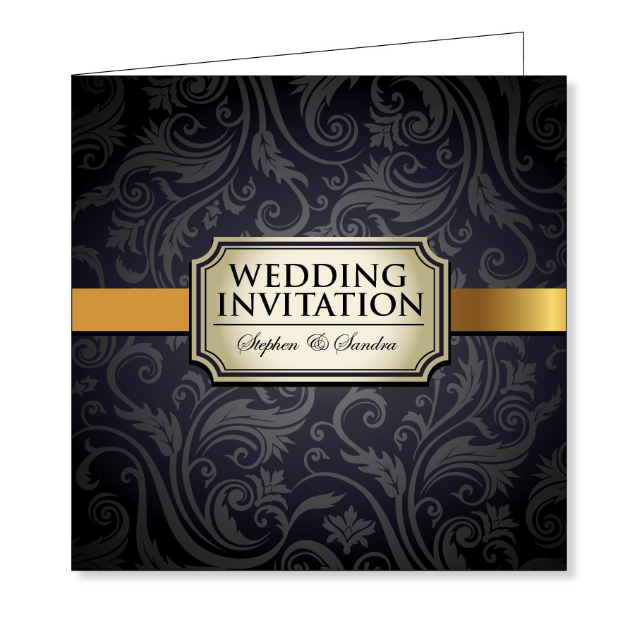 Folding wedding invitation - Vintage black