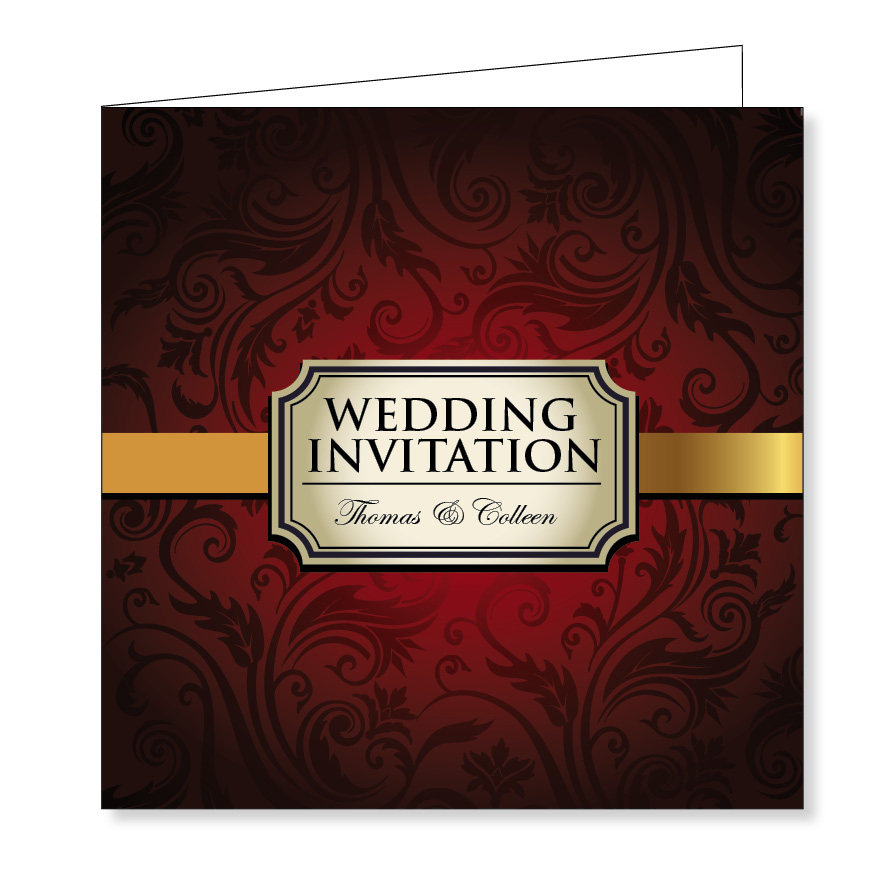 Folding wedding invitation - Vintage red