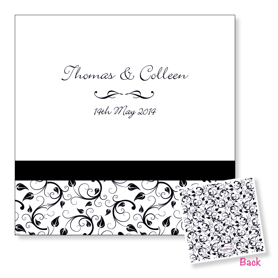 Folding wedding invitation - black floral