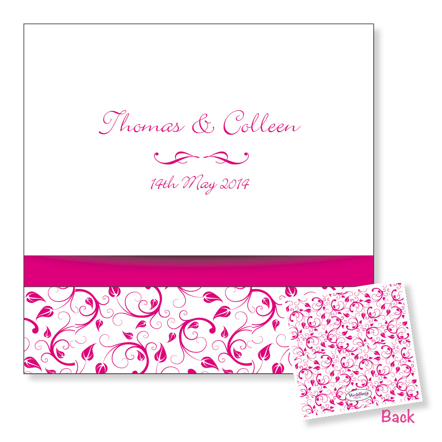 Folding wedding invitation - Pink floral